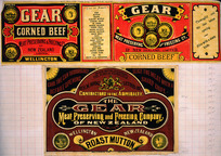 Gear Meat Company :Gear Corned beef [and] Gear Meat Preserving and Freezing Company of New Zealand, Wellington New Zealand. Roast mutton. [1890-1920].