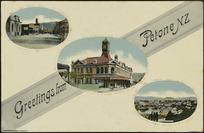 Postcard. Greetings from Petone N.Z. Dominion of New Zealand post card. Gold medal series. Fergusson Ltd. Printed in Germany [ca 1910].