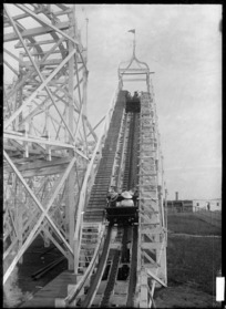 View of the Wonderland roller coaster ride, Auckland Exhibition, Auckland