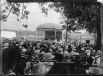 People listening to the welcome to the mass bands, Auckland Exhibition