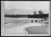 View of the snow-covered Tararua Range taken from the banks of the Waingawa River near Masterton