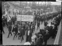 A protest march in Auckland during Waterfront Strike