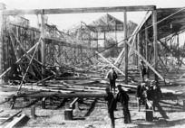 Gale damaged New Zealand International Exhibition buildings in Hagley Park, Christchurch