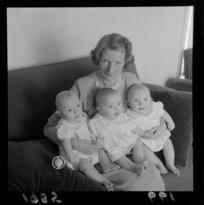 Mrs W J Payne with her triplets