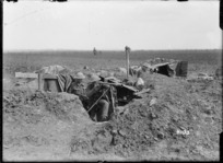 Soldiers watching for Germans at a New Zealand signalling post on the Somme, near Colincamps, France, during World War I
