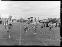 Junior athletics, boys' running race at the Basin Reserve, Wellington