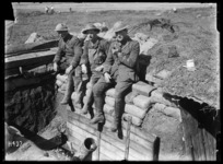 A quiet day on the Somme, N Z Trench Mortar officers in the gun pit, near Colincamps