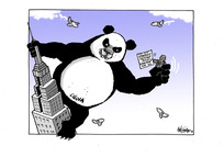 """[Chinese panda bear, as King Kong, enraged by Winston Peters, as Fay Wray, and his """"strategic defence policy"""""""