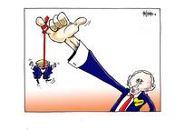 [Putin dangles his puppet Donald Trump during their Helsinki summit]