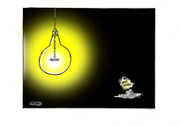 "[the ""Electricity prices"" lightbulb glows brightly as the ""Price review' slumps]"