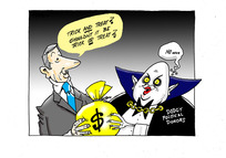 """A vampiric """"Dodgy Political Donor"""" takes a bag of money in a Halloween """"trick anf treat"""""""