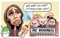 """""""Why, won't they eat? It's really good stuff!"""" Greens. Labour. NZ Business"""