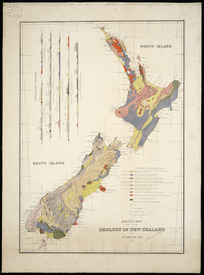Sketch map of the geology of New Zealand [cartographic material] / by Dr. Hector.