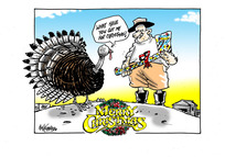 "A turkey asks the farmer with a gift wrapped axe ""what have you got me for Christmas?"""