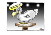 "UK PM Theresa May as a stuffed ""Theresus Mayus [Dodo]"" bird"