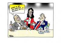"""Winston Peters toasts the """"new workplace relations bill"""" with """"whisky"""" while Jacinda Ardern and James Shaw toast with """"mouthwash"""""""