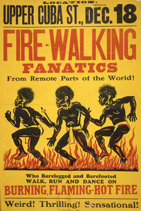 Fire-walking fanatics from remote parts of the world! Upper Cuba Street, Dec[ember] 18, [ca 1914].