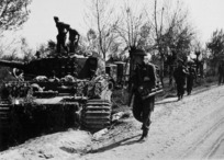 Infantry passing a wrecked German Tiger tank, Italy