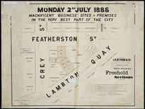 Monday 2nd July 1888 [cartographic material] : magnificent business sites & premises in the very best part of the city / [surveyed by] Seaton & O'Donahoo.