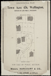 Sub-divisional plan of Town Acre 476, Wellington, estate of late Mrs. C. Mulligan [cartographic material] / [Thomas Ward, surveyor].