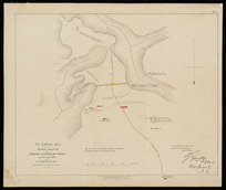 Te Rangi, N.Z. [cartographic material] : rough sketch of ground occupied by rebels on 21st June 1864 / by Lt. Warburton ... sketched on day of action.