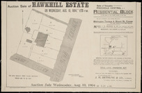 Auction sale of Hawkhill Estate ... Wellington Terrace & Mount St. corner [cartographic material] / Seaton & Sladden, surveyors.