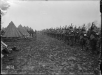 An Auckland Battalion marching into camp, Louvencourt, World War I