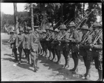 World War I New Zealand troops in France inspected by Brigadier General Hart