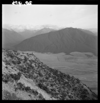 Looking from Grasmere Station, near Cass, Canterbury, towards peaks and the Waimakariri River