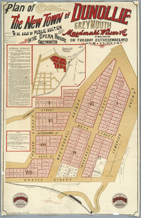 Plan of the new town of Dunollie, Greymouth... [cartographic material] / J.W. Spence.
