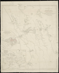 The harbour and city of Auckland, the capital of New Zealand [cartographic material] : with the districts of the rivers Kaipara, Waitemata, Tamaki, Wairoa, Waihou, or Thames, Mercury Bay, Kawia, Piako, Waipa, Waikato, Manakao, Tauranga &c  / compiled from various surveys by John Arrowsmith.