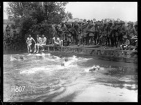 A close finish at the New Zealand Division water sports, World War I