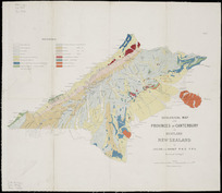 Geological map of the Provinces of Canterbury and Westland, New Zealand [cartographic material] / by Julius von Haast, P.H.D., F.R.S., principal geologist.