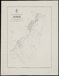 Plan of the town of Akaroa [cartographic material] / surveyed by Boys & Davie, 1852-6 ; drawn by C. R. Pollen, Wellington Feb'y 28th 1878 ; photo-lithographed by A. McColl.