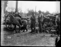 World War I soldiers filling water bottles near Ploegsteert Wood
