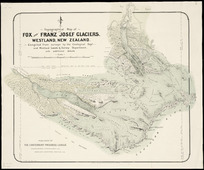 Topographical map of Fox and Franz Josef glaciers, Westland, New Zealand [cartographic material] / compiled from surveys by the Geological Dept., and Westland Lands & Survey Department, with additional details.