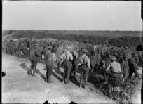 German prisoners on the way down from the front, Hebuterne, France