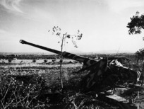 An 88mm German gun, used to defend the outskirts of Rimini, Italy, during World War II