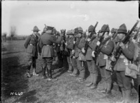 The GOC holds rifle inspection of an Otago battalion during World War I