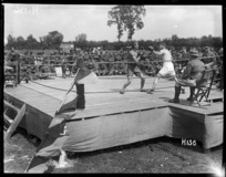 Sparring in the ring at the New Zealand Division boxing championships, France during World War I
