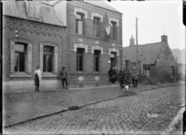 Returned French civilians outside their homes in Beauvois, France, World War I