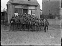 Soldiers outside the New Zealand YMCA rooms in Beauvois, France, World War I