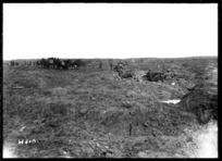 Field guns firing from shell holes at Kansas Farm during World War I