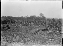 Troops at the New Zealand Infantry Brigade horse show remain alert to a German attack, World War I