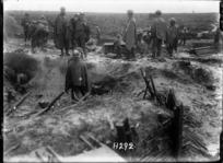 New Zealand soldiers make tea near the Wieltje Road, Ypres Salient