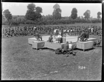 A fight underway at the New Zealand Division boxing championships in France during World War I