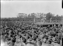 Soldiers watching a boxing match at the New Zealand Divisional Sports, Authie