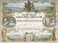 Schmidt, William Shaw Diedrich, 1870-1968 :Visit of their Royal Highnesses the Duke and Duchess of Cornwall and York to New Zealand ... laying the foundation stone of the new railway offices ... Wellington ... 20th June 1901.