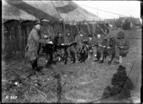 The Kiwis learning their parts for a pantomime during World War I