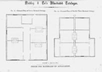Findlay & Co. :Findlay and Co's illustrated catalogue. No. 3. Ground plan of seven roomed cottage. Ground plan of double three roomed cottage. Scale 1/8 inch to a foot. Prices for material on application. [1874]